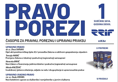 Časopis Pravo i porezi za mjesec siječanj 2018.