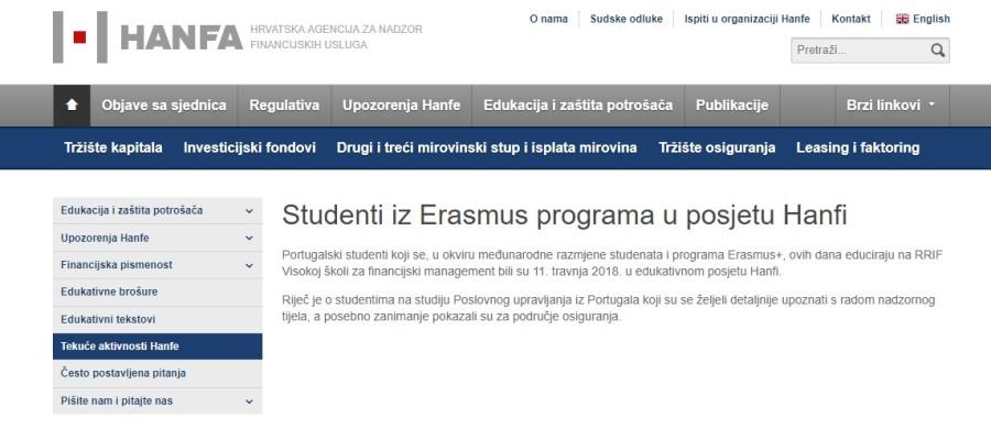 Erasmus+ studenti u posjetu HANFI